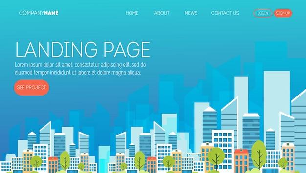 Modello di pagina web di società di costruzioni. pagina di destinazione per un sito web sul settore immobiliare