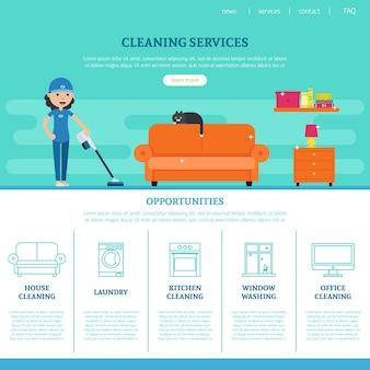 Modello di pagina web di società di pulizie
