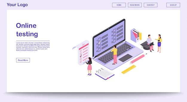 Modello di pagina web di test online con illustrazione isometrica
