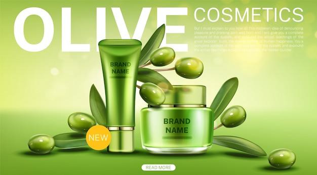 Modello di pagina web di tubo di cosmetici e vasetti di crema di olive
