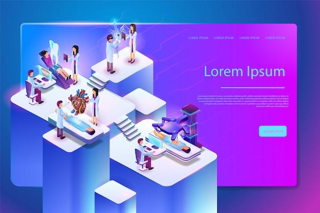 Modello di pagina web di vettore di tecnologia medica futura