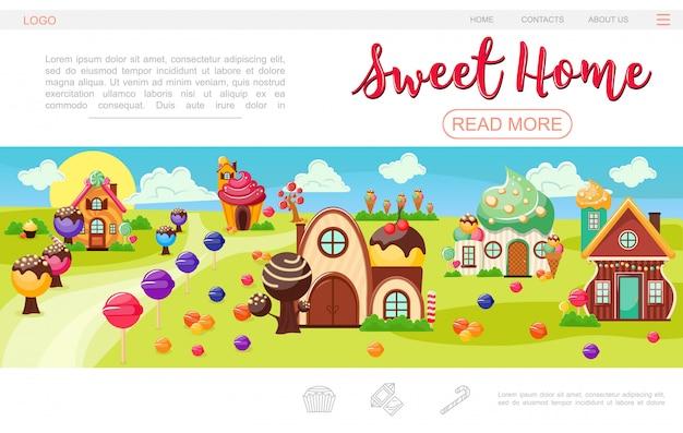 Modello di pagina web di villaggio dolce piatto con alberi di gelato di lecca-lecca case colorate di torte di panna montate e cioccolato