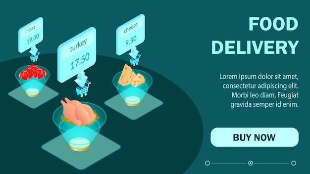 Modello di pagina web isometrica di ordine alimentare online