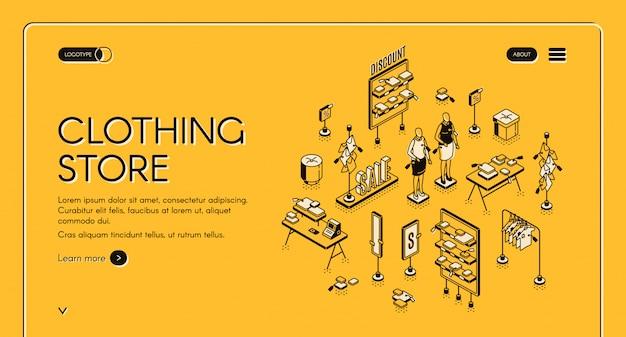 Modello di pagina web isometrica negozio di abbigliamento