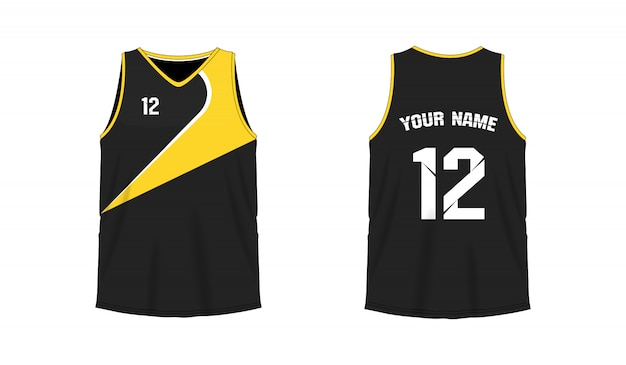 Modello di pallacanestro o calcio giallo e nero della maglietta per il club della squadra su fondo bianco. jersey sport,