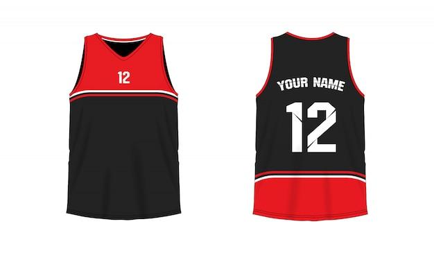 Modello di pallacanestro o calcio rosso e nero della maglietta per il club della squadra su fondo bianco. jersey sport,