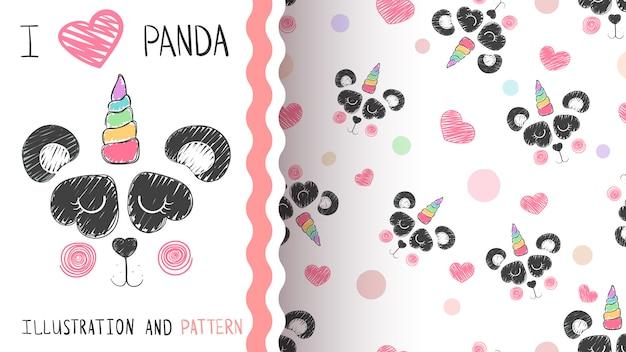 Modello di panda e unicorno