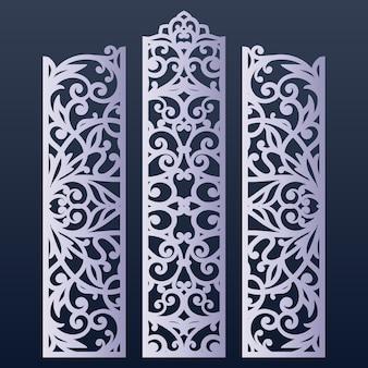Modello di pannelli ornamentali per il taglio.