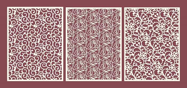 Modello di pannelli ornamentali tagliati al laser con turbinii e rose floreali