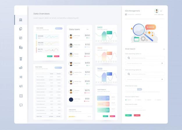 Modello di pannello del dashboard di infografica per la progettazione dell'interfaccia utente ux