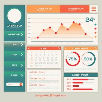 Modello di pannello di amministrazione dashboard moderno