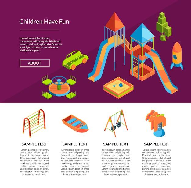 Modello di parco giochi isometrico