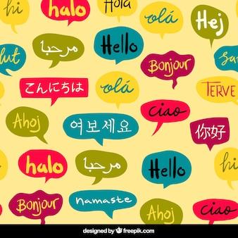 Modello di parola ciao disegnato a mano in diverse lingue
