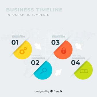 Modello di passaggi di business infografica timeline