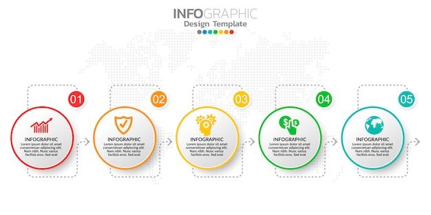 Modello di passaggi di infografica marketing online digitale per contenuti aziendali.