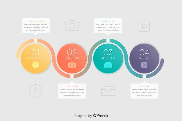 Modello di passaggi infografica colorato