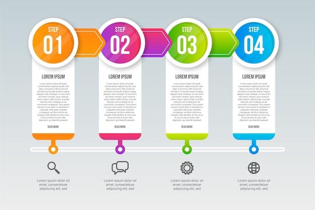Modello di passaggi infografica professionale