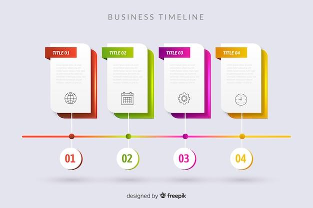 Modello di passaggi infografica timeline