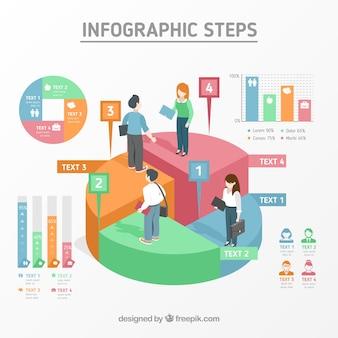 Modello di passaggi infografica