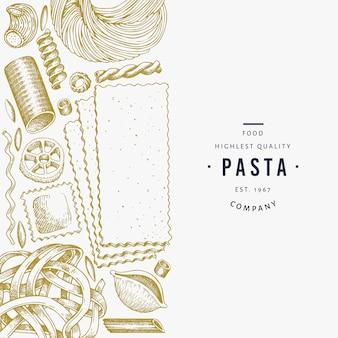 Modello di pasta italiana. illustrazione cibo disegnato a mano.