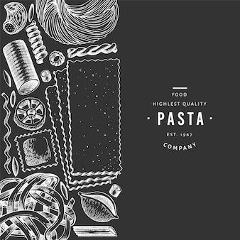 Modello di pasta italiana in bianco e nero.
