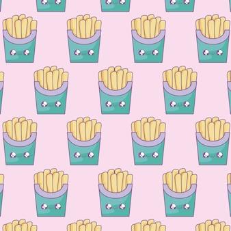 Modello di patatine fritte fresche stile kawaii