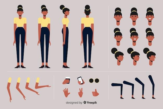 Modello di personaggio di donna dei cartoni animati
