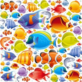 Modello di pesci tropicali senza soluzione di continuità. illustrazione di animali marini