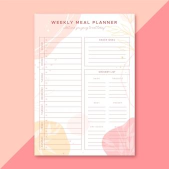 Modello di pianificatore di pasto