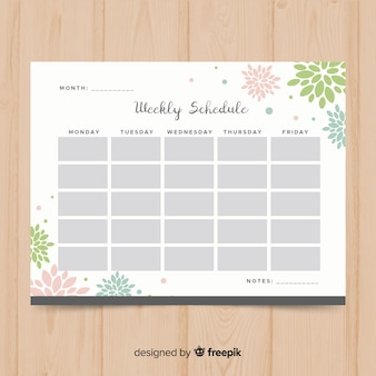 Modello di pianificatore settimanale moderno con design piatto