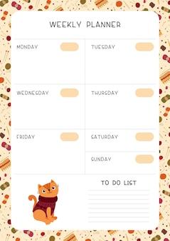 Modello di pianificatore settimanale vuoto.