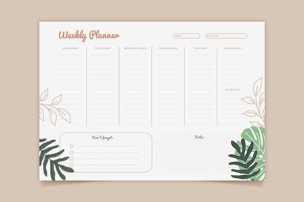Modello di pianificatore settimanale