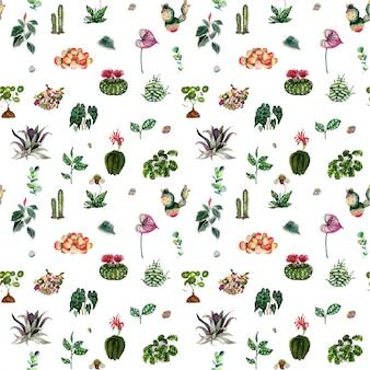 Modello di piante e fiori di casa