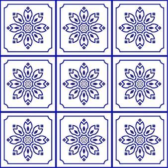 Modello di piastrelle bianche e blu senza soluzione di continuità