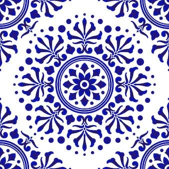 Modello di piastrelle blu e bianco, astratto decorativo floreale senza soluzione di continuità per design, porcellane, porcellane, ceramica, piastrelle, soffitto, struttura, mandala, carta da parati, pavimento e parete