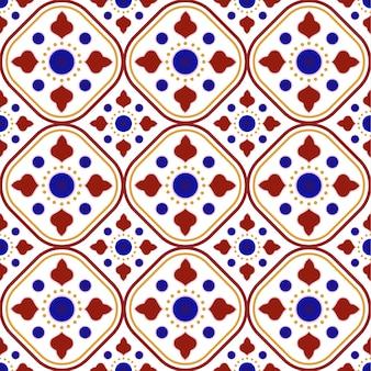 Modello di piastrelle ceramiche talavera messicane, decoro ceramica italain, design azulejo portoghese senza cuciture, colorato maiolicato spagnolo, bel design indiano e arabo