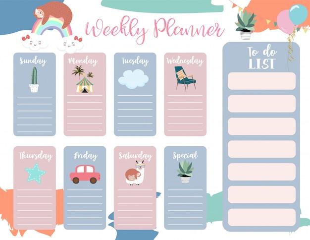 Modello di planner settimanale con simpatici animali