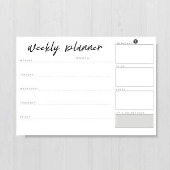 Modello di planner settimanale in bianco e nero