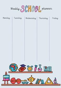 Modello di planner settimanale verticale. organizzatore e programma con posto per le note.