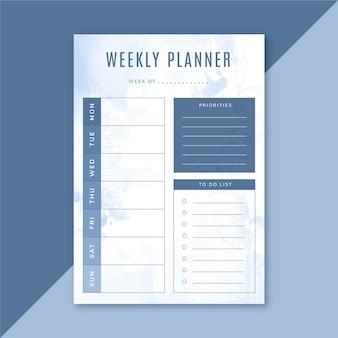 Modello di planner settimanale