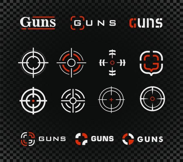 Modello di poligono di tiro e collezione di icone. pistole o altro segno di mira del fucile dell'arma messo sul nero