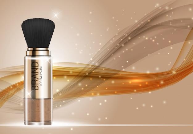 Modello di polvere di prodotti cosmetici design per sfondo annunci. illustrazione realistica di vettore 3d