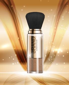 Modello di polvere di prodotti cosmetici di design per pubblicità o sfondo di riviste
