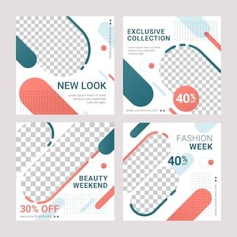 Modello di post annuncio banner social media vendita di moda