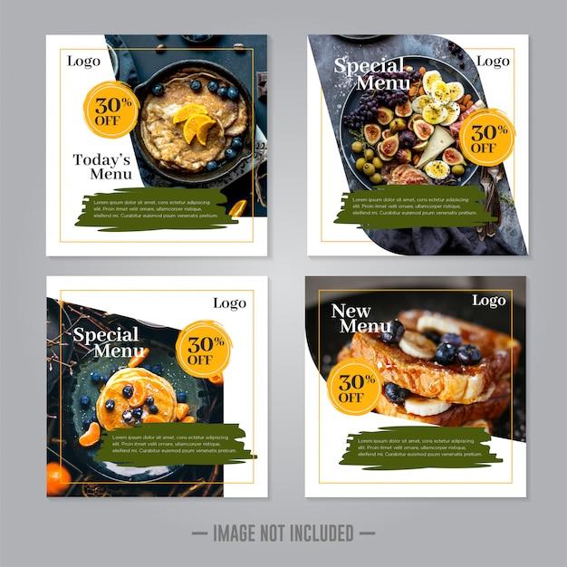 Modello di post banner ristorante social media alimentare