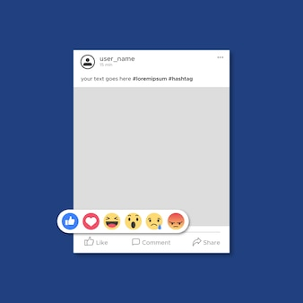 Modello di post di facebook con emoticon