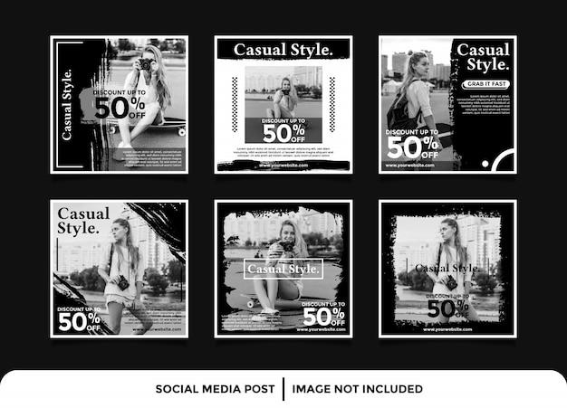Modello di post di instagram banner social media moda