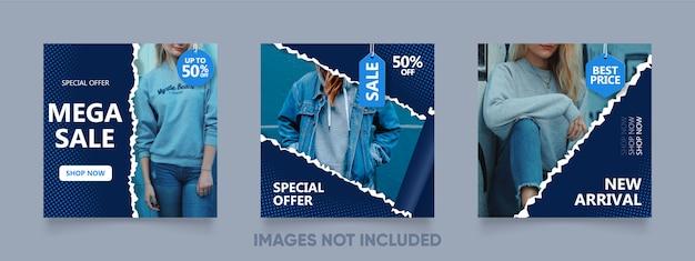 Modello di post di instagram con stile realistico di carta strappato