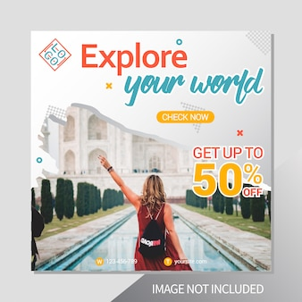 Modello di post di instagram di vacanza viaggio
