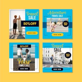 Modello di post di instagram di vendita di viaggio